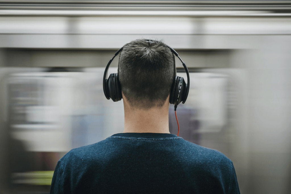 Text to speech - a man with headphones on