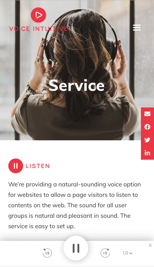 A screenshot from Voice Intuitive's website, Service page. The control panel appears at the bottom of the page.